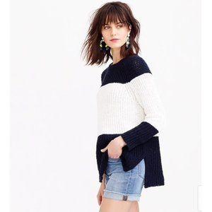 NWOT J. Crew Sailor Stripe Cotton Linen Sweater
